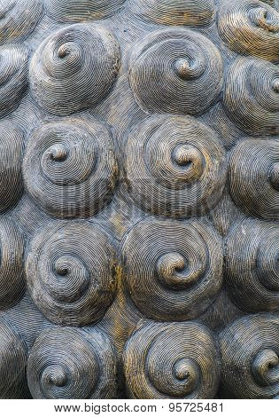 Spiral radial part of brass structure texture