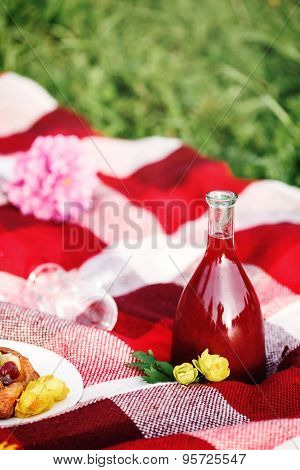 Summer Picnic Concept. Food On Plaid.