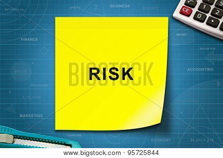 Risk Word On Yellow Note
