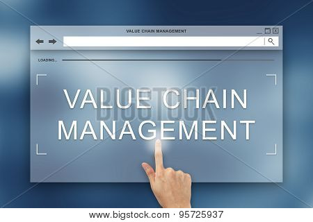 Hand Press On Value Chain Management Button On Website