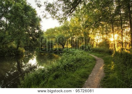 Stunning Beautiful Sunrise Landscape Over River On Summer Morning