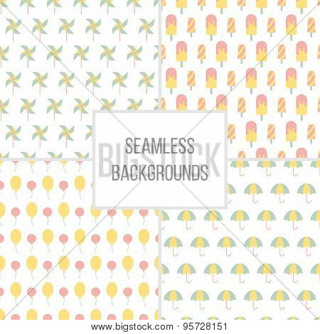 Vector illustration of Seamless patterns set.