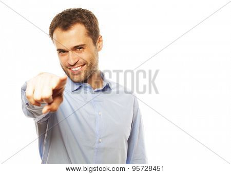 business, success and people concept - Business man showing finger to be number one