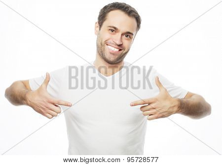 life style  and people concept: handsome man in white shirt, studio shot isolated on white background.