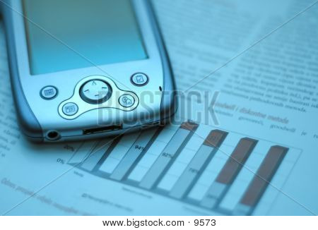 Handheld Pc And Financial Chart