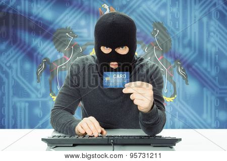 Hacker Holding Credit Card And Usa State Flag On Background - Pennsylvania