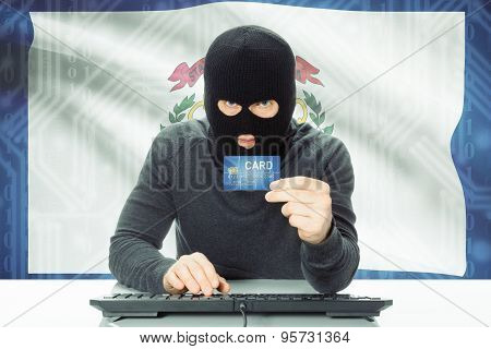 Hacker Holding Credit Card And Usa State Flag On Background - West Virginia