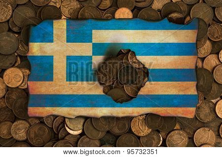 grungy burnt Greek flag on euro coins background