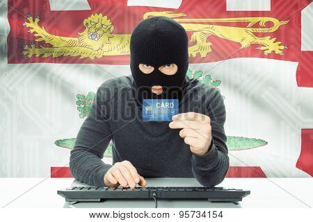 Hacker Holding Credit Card And Canadian Province Flag On Background - Prince Edward Island