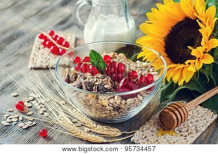 Healthy Breakfast With Muesli, Fresh Berries, Crispbread, Honey And Wheat, Rolled Oats