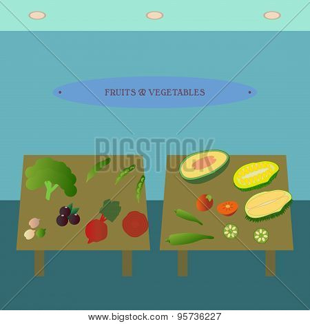 Fruits and vegetables showcase flat icon. Supermarket section design template.  Department store int