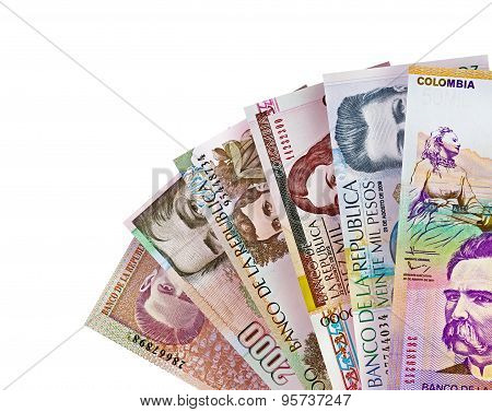 Colombian Peso Bills Background