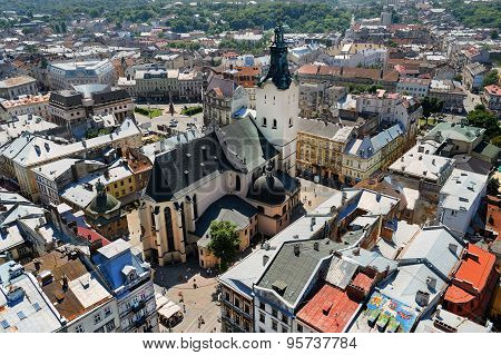 Air View On The Cathedral And Central Part Of Lviv City