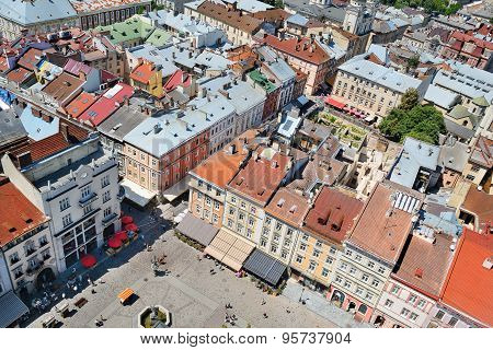 Air View On The Market Square In Lviv City