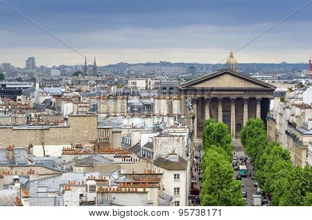 Madeleine Church With Paris Skyline