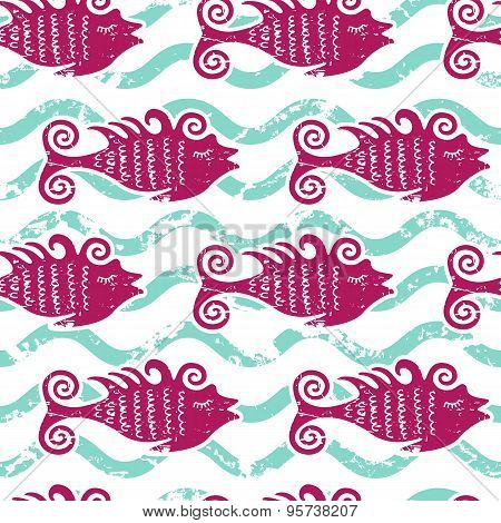Vector Seamless Pattern Cute Pink Fish And Water Wave. Summer Marine Background