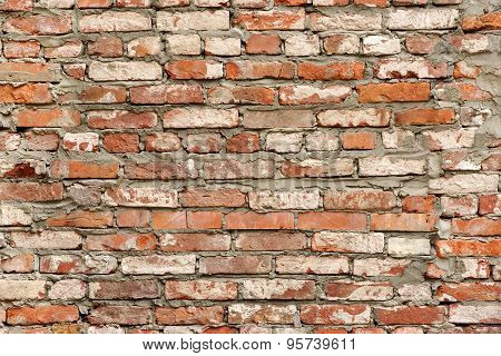 Old Red White Brick Wall Background. Retro Brickworktexture