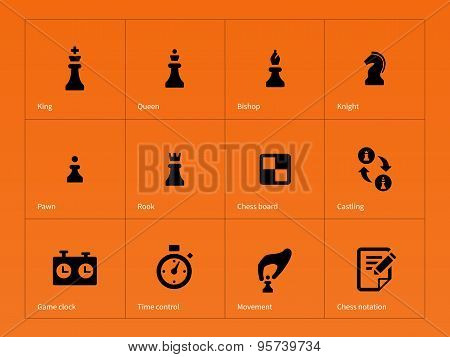 Chess Figures icons on orange background.