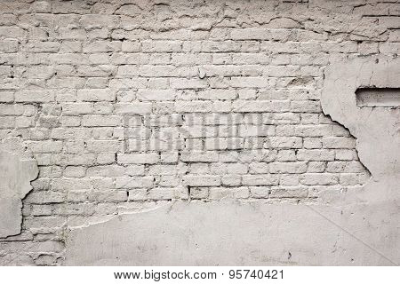 Old Broken Damaged Plastered Painted White Brick Wall Background