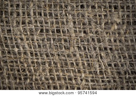 Texture Of Sackcloth Close Up. Antiquity Environment