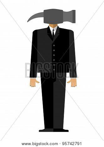 Man hammer. Businessman in suit instead head a sledgehammer. Vector illustration.