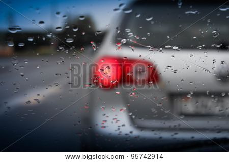 drops on the glass car meteorological background