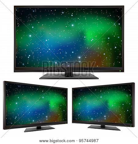 Tv Modern Led Monitor Isolated On White Background