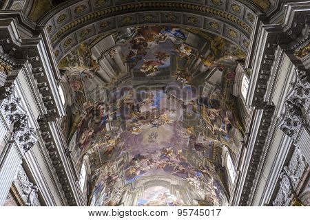 Frescoes Of Andrea Pozzo On Sant  Ignazio Church Ceilings, Rome, Ital