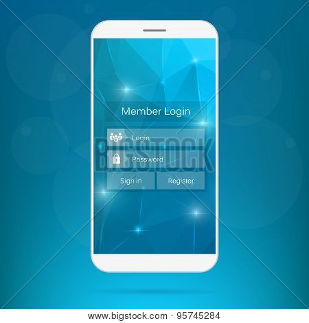 Abstract creative concept vector member login form interface. For web page, site, mobile application