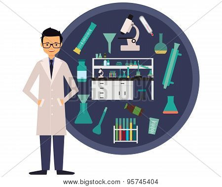 Workplace scientist chemist. The concept of science. Vector illustration
