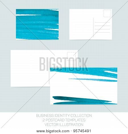 Business identity collection: turquoise tiffany teal watercolor. Postcard templates in two size with