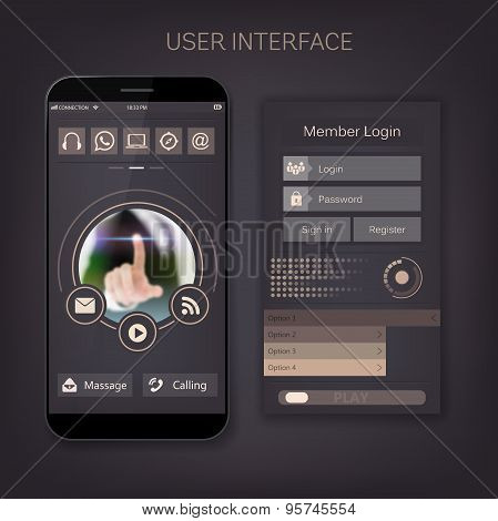 Mobile vector user ui kit form interface. For web page, site bar, art flat icon, device design theme