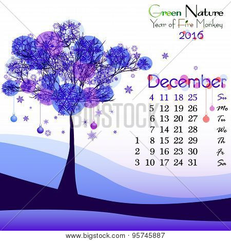 Abstract Nature Background With Winter Tree. December