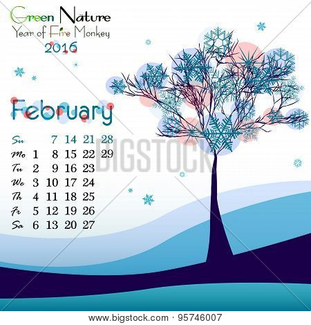Abstract Nature Background With Winter Tree. February