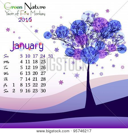 Abstract Nature Background With Winter Tree. January