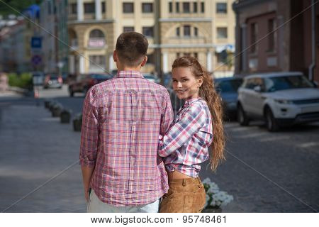 Young couple in city