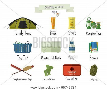 Camping with kids. Tips. Set of flat adventure traveling elements and symbols with text signs. Summe