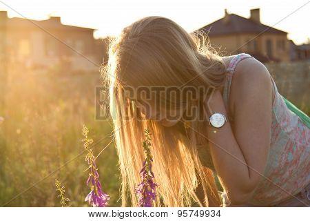 Long White Hair In Sunset Light