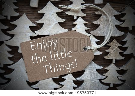 Brown Christmas Label With Enjoy The Little Things