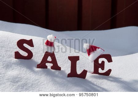 Christmas Sale On Snow With Santa Hat