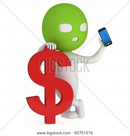 3D Thief With Red Dollar And Smartphone