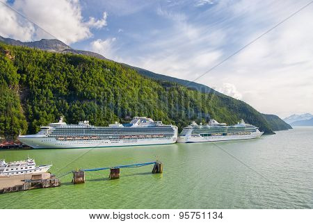Two Cruise Ships Docked In Skagway, Alaska