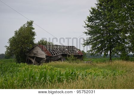 run down barn