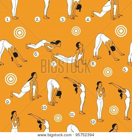 Yoga poses as seamless background. Surya Namaskara.