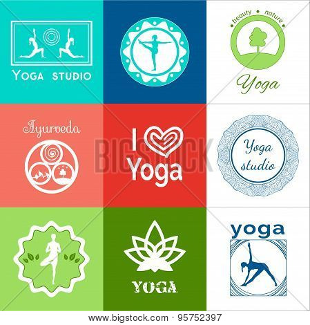 Set of yoga logos.