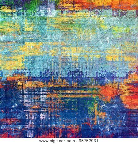 Art grunge vintage textured background. With different color patterns: yellow (beige); red (orange); blue; green