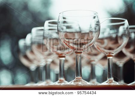 Vintage Stylized Photo On Wine Glasses. Selective Focus.