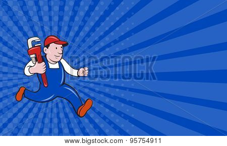 Business Card Plumber With Monkey Wrench Cartoon
