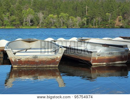Boats in a lake at summer camp