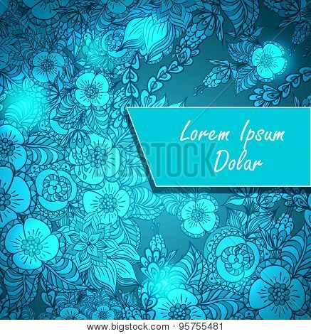 Template with doodle flowers and light in blue